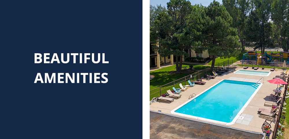 beautiful pool amenities at the Peaks on Drake