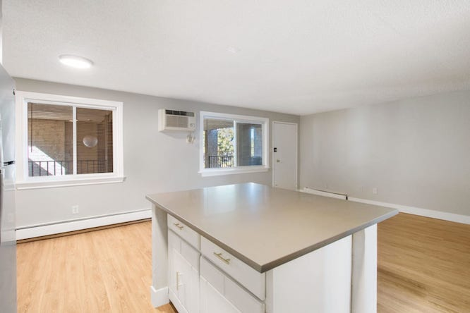 kitchen island at the Peaks on Drake apartments